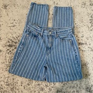 American Eagle mom jeans high rise striped  0